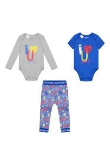 Baby Boys Blue Cotton Logo Trouser 3 Piece Set