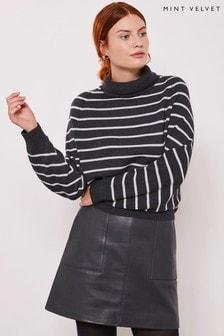 Mint Velvet Grey Striped Grown On Batwing Knit Jumper