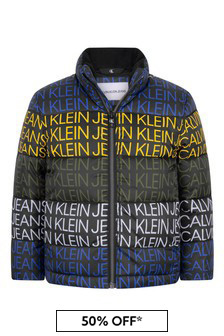 Calvin Klein Jeans Boys Black Repeat Logo Padded Jacket
