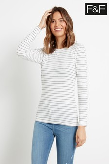 F&F Multi Black/White Scoop Neck Stripe Top
