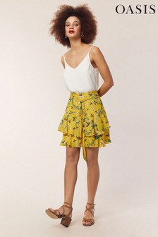Oasis Yellow Hermione Print Mini Skirt