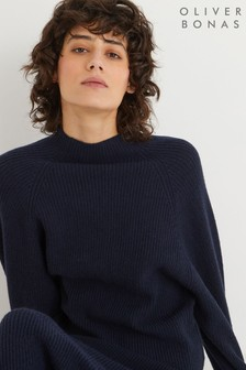 Oliver Bonas Fisherman Ribbed Navy Blue Knitted Jumper