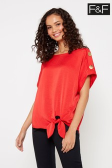 F&F Red Sasha Button Batwing Blouse