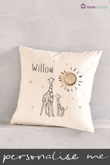 Personalised Giraffe Nursery Cushion by Loveabode