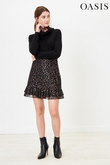 Oasis Black Star Lace Flippy Skirt