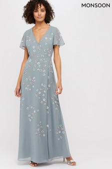 Monsoon Grey Ally Embellished Wrap Maxi Dress