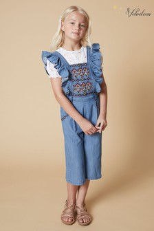 Velveteen Embroidered Denim Dungarees