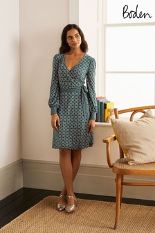 Boden Blue Edie Jersey Wrap Dress