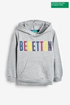 Benetton Grey Logo Hoody