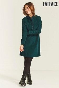 FatFace Green Bernie Cord Shirt Dress