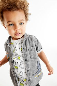 Short Sleeve Embroidered Shirt And T-Shirt Set (3mths-7yrs)