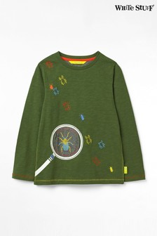 White Stuff Green Kids Magnify Me Printed Jersey T-Shirt