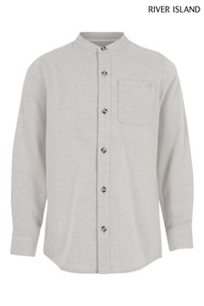 River Island Grey Grandad Textured Utility Shirt
