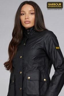 Barbour® International Black Coated Linen Casual Austin Jacket