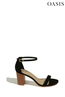 Oasis Black Reli Block Heel Sandals