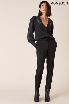 Monsoon Black Slim Jacquard Trousers