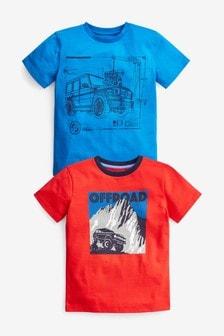 2 Pack Transport Short Sleeve Jersey T-Shirts (3-16yrs)