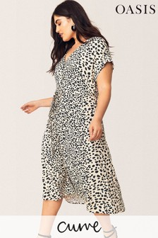 Oasis Black Curve Leopard Midi Dress