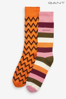 Lot de deux paires de chaussettes GANT motif jacquard pour homme dans coffret cadeau