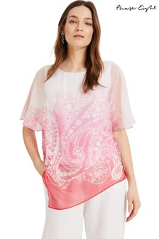 Phase Eight Pink Paisley Silk Blouse