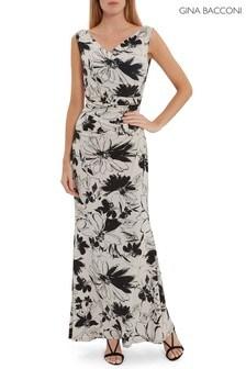 Gina Bacconi Cream Macara Floral Jersey Maxi Dress
