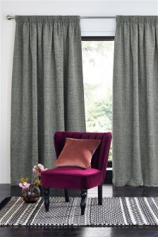 Textured Chenille Pencil Pleat Lined Curtains
