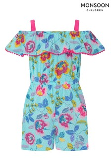 Monsoon Children Blue S.E.W Adley Pom Pom Playsuit