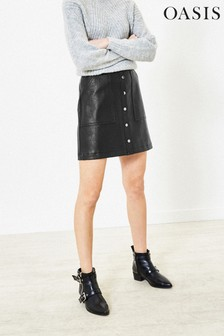 Oasis Black Faux Leather Popper Skirt