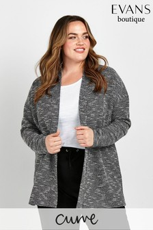 Evans Curve Black Bouclé Textured Jacket
