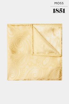 Złota poszetka z jedwabiu we wzór paisley Moss 1851