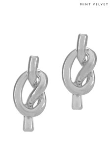 Mint Velvet Silver Tone Knotted Studs