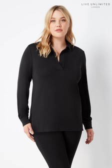 Live Unlimited Black French Crepe Collared Blouse