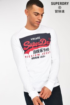 Superdry Langarm-T-Shirt, Weiß