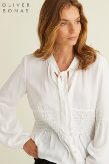 Oliver Bonas Gathered Tie Front Blouse