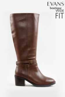 Evans Curve Extra Wide Fit Brown Knee High Faux Leather Boots