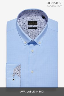 Textured Stretch Signature Button Down Shirt With Trim Detail