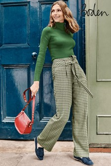 Boden Green Tweed Tie Waist Trousers