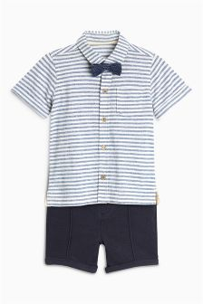 Jersey Shirt, Bow Tie And Shorts Set (3mths-6yrs)