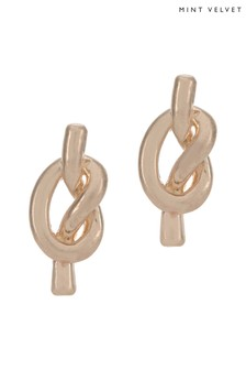 Mint Velvet Gold Tone Knotted Studs