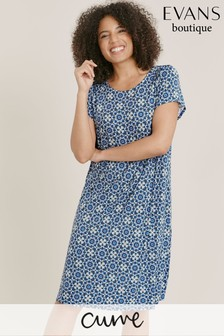 Evans Curve Blue Tile Print Shift Dress