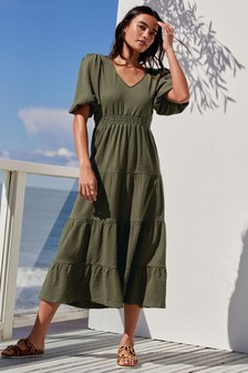 Volume Sleeve Tiered Jersey Dress