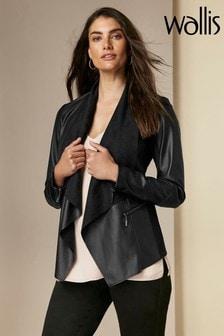 Wallis Black Waterfall Zip Jacket