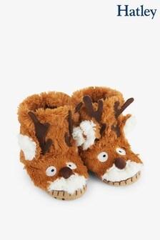 Hatley Kids Brown Reindeer Slippers