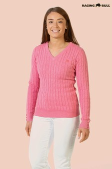 Raging Bull Pink Cable Knit V-Neck Jumper