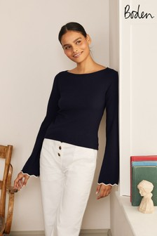 Boden Blue Cawdor Scallop Jumper
