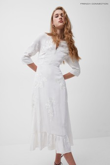 French Connection White Dija Embroidered Lace Dress