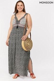 Monsoon Ladies Black Gwen Print Jersey Dress