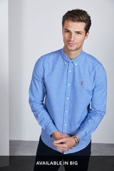 Regular Fit Long Sleeve Gingham Stretch Oxford Shirt