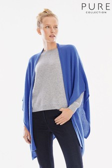 Pure Collection Blue Gassato Knitted Wrap Cardigan.