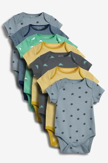 7 Pack Printed Short Sleeve Bodysuits (0mths-3yrs)